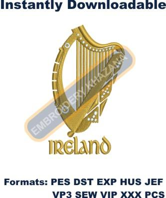 ireland harp machine embroidery designs